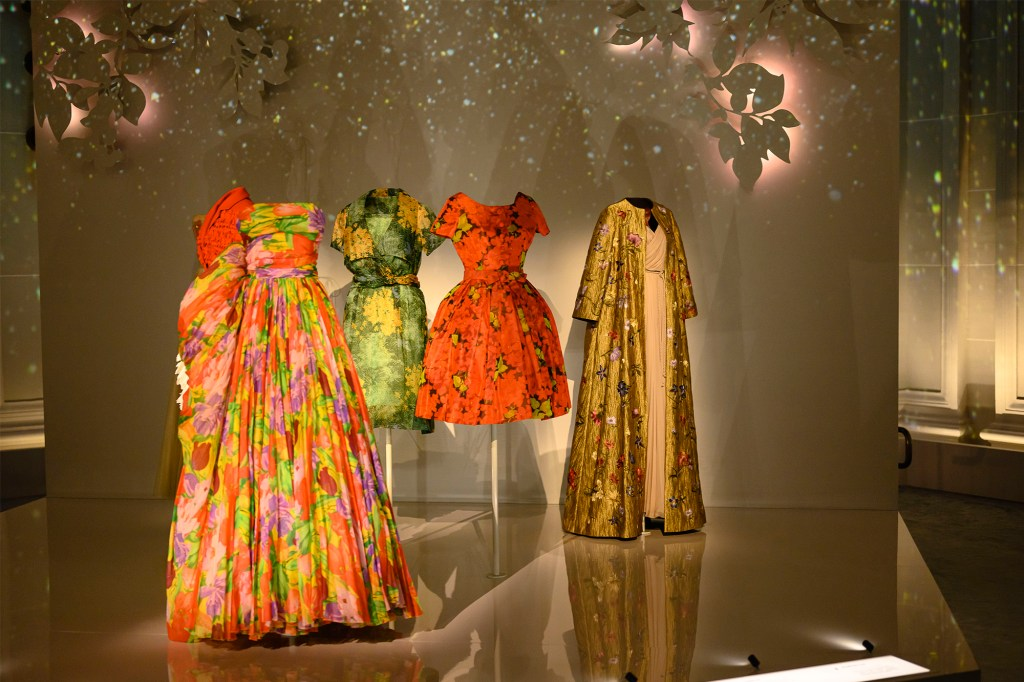 A selection of dresses at the Christian Dior: Designer of Dreams exhibit at the Brooklyn Museum