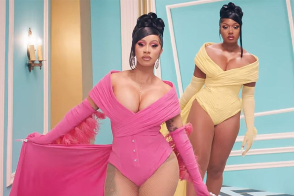 """A still from the """"WAP' music video by Cardi B and Megan Thee Stallion."""