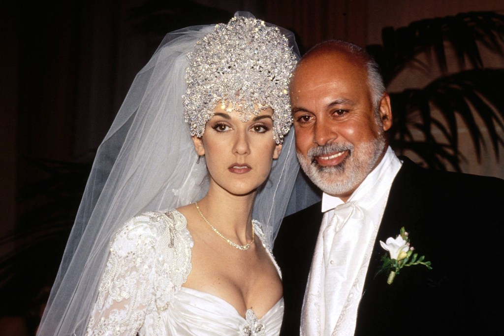 Celine Dion during her 1994 wedding to Rene Angelil, her manager who died in 2016.