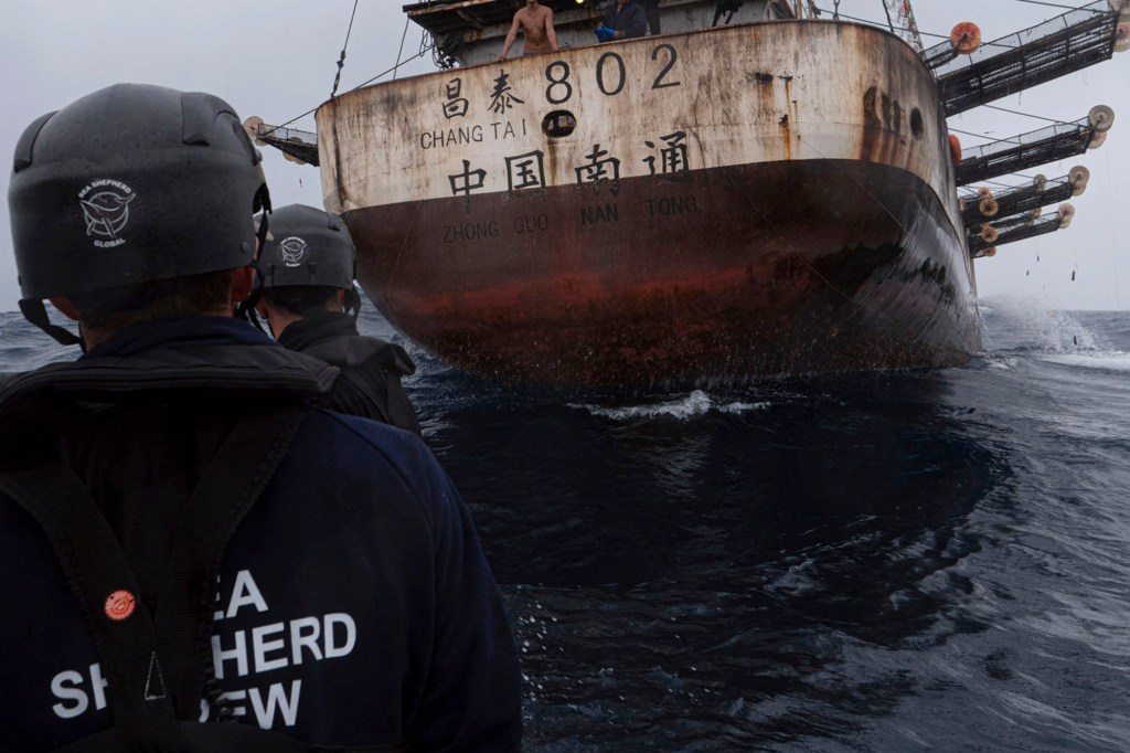 Members of the Ocean Warrior approach a Chinese-flagged vessel whose Indonesian crew said they had been stuck at sea for years.
