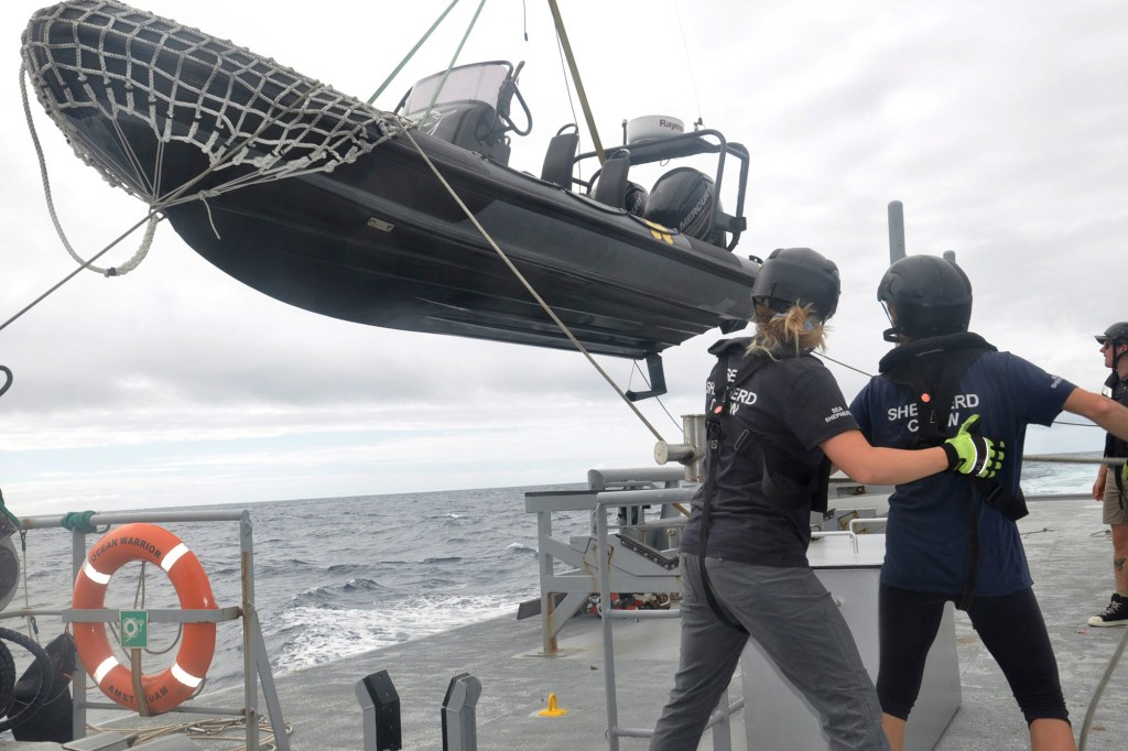 Members of Sea Shepherd, an ocean conservation group, lower an inflatable dinghy from the deck of the Ocean Warrior off the west coast of South America.