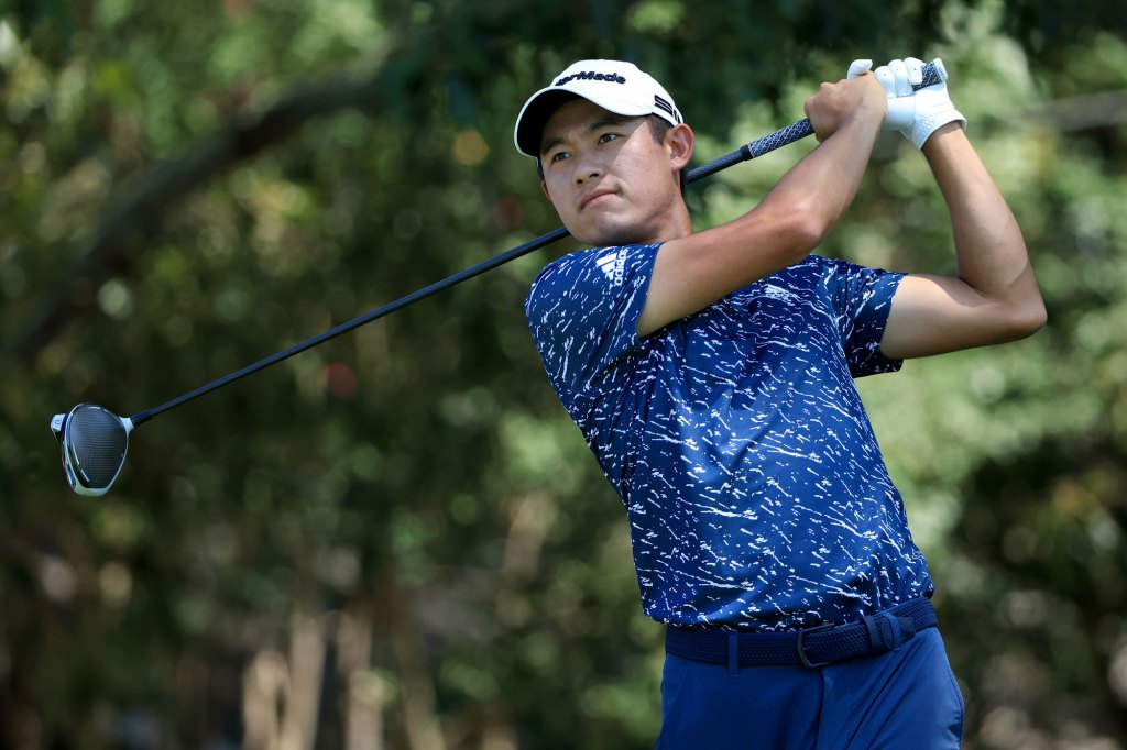 Collin Morikawa plays his shot from the third tee during the third round of the TOUR Championship at East Lake Golf Club on September 04, 2021 in Atlanta, Georgia. (Photo by Sam Greenwood/Getty Images)