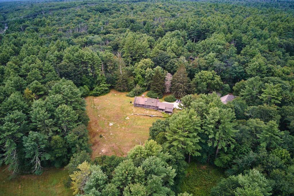 The secluded property is nestled in greenery.