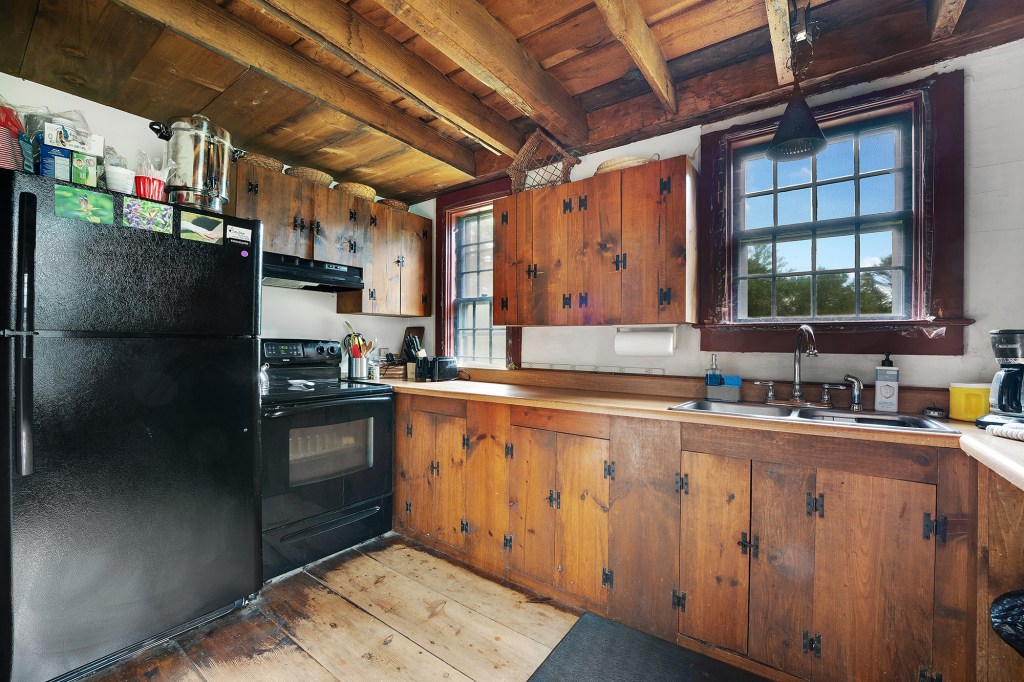 The kitchen has rustic charm.
