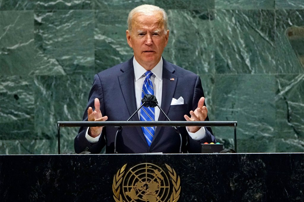 U.S. President Joe Biden speaks during the 76th Session of the United Nations General Assembly at U.N. headquarters in New York.