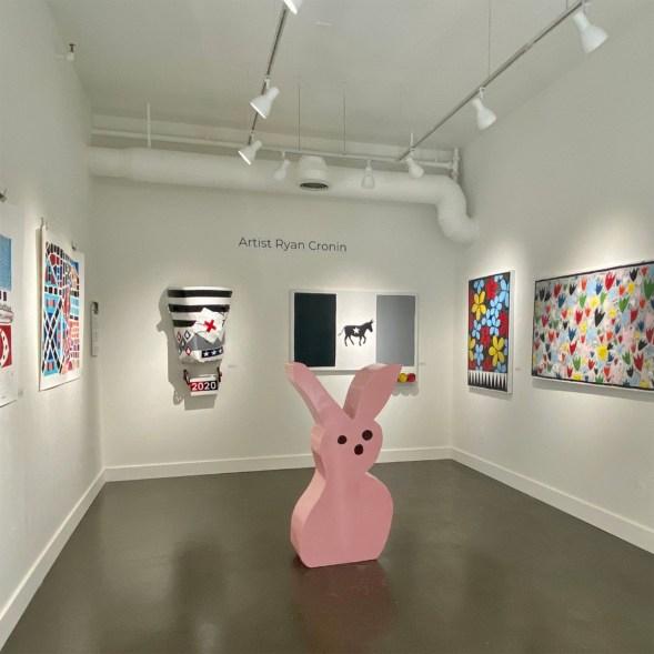 An rabbit-themed art exhibit inside Cronin Gallery.