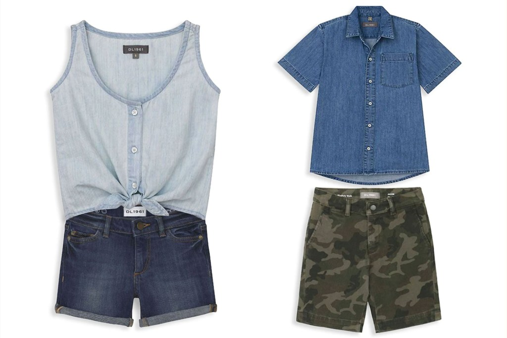 A blue tank top and cut off kid's shorts on one side and a boy's denim shirt and camo shorts on the other