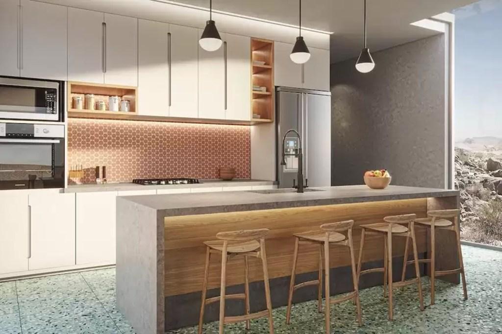 The kitchen feature high-end appliances.