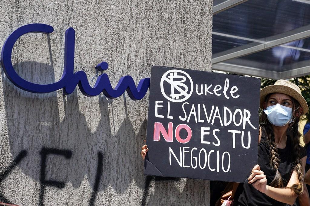 An anti-government protestor in El Salvador