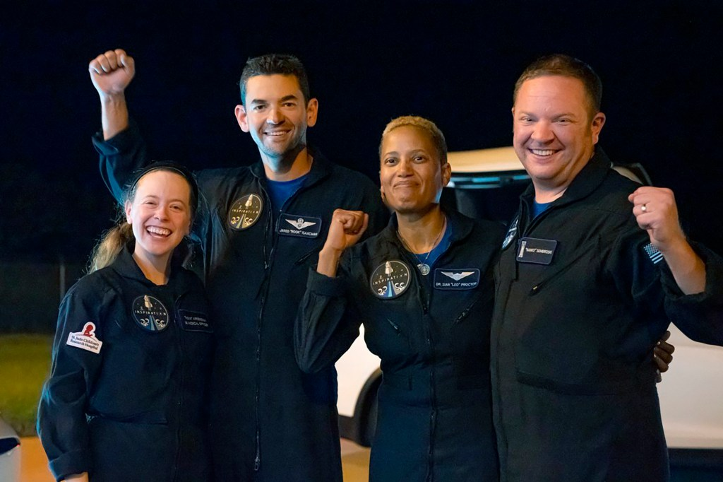 The crew of the SpaceX flight included Hayley Arceneaux (left), Jared Isaacman, Sian Procter and Chris Semibroski (right).