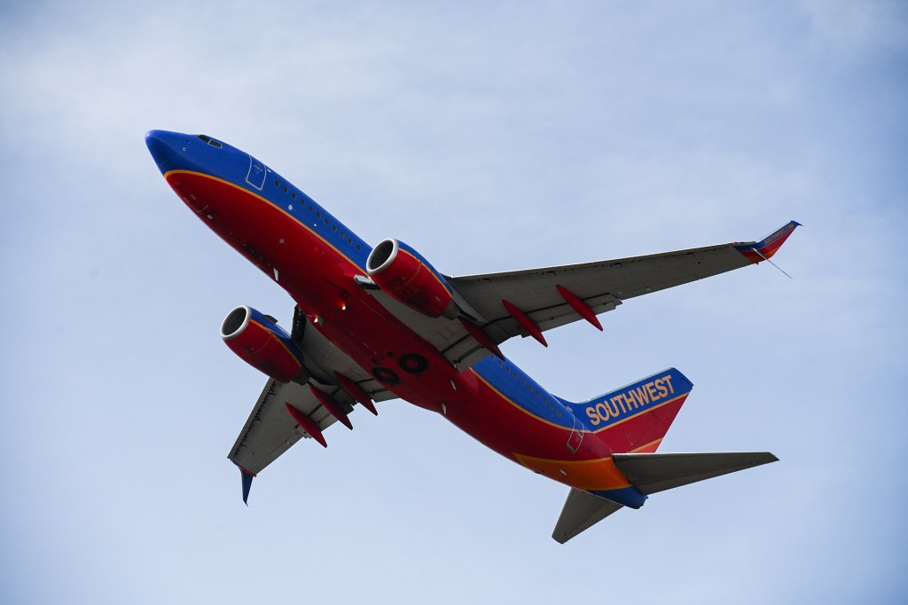 A Southwest Airlines flight takes off amid the COVID-19 pandemic.