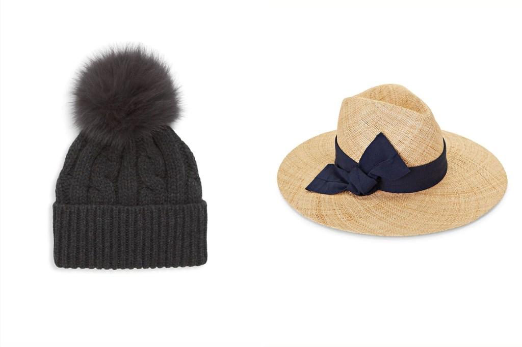 A black beanie with a pom pom next to a straw summer hat with black ribbon