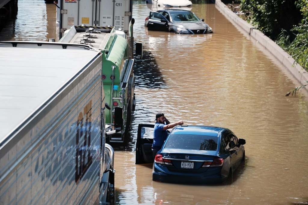 Partially submerged cars on the flooded Major Deegan Expressway in the Bronx on September 2, 2021.