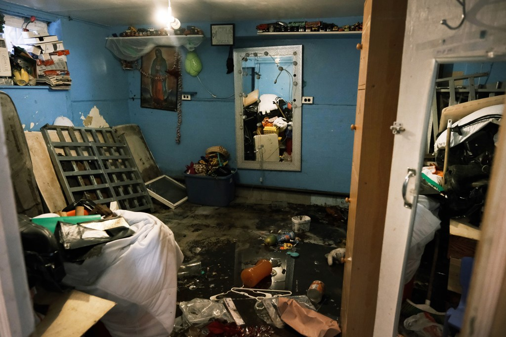 A flooded basement level apartment in Queens on September 3, 2021.