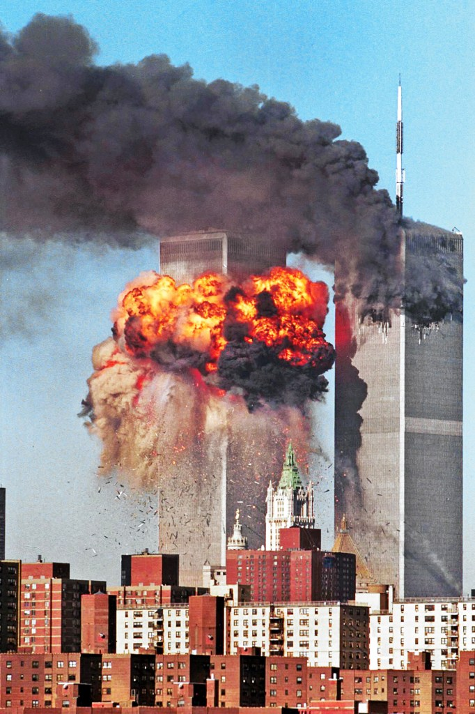 The impact of the second plane hitting the World Trade Center this morning. News.