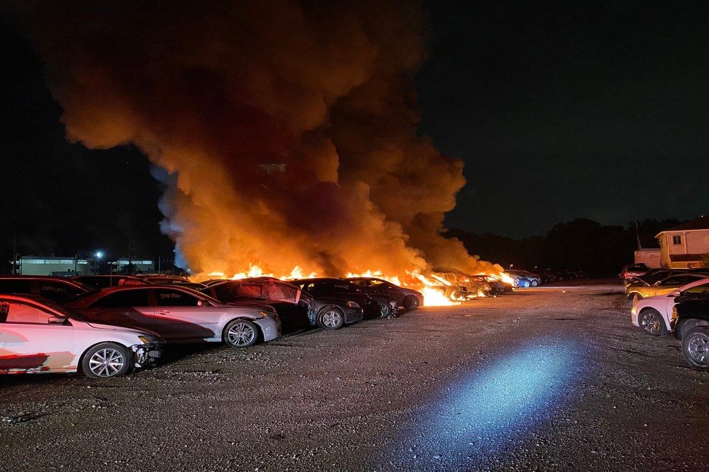 The blaze started at the location of Insurance Auto Auctions in Indiana early Wednesday morning.