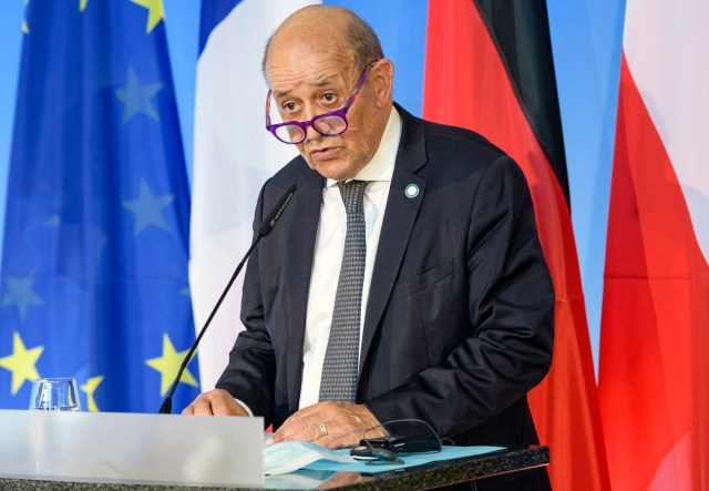 """French Foreign Minister Jean-Yves Le Drian speaks in Weimar, Germany. France said late Friday, Sept. 17 it was immediately recalling its ambassadors to the U.S. and Australia after Australia scrapped a big French conventional submarine purchase in favor of nuclear subs built with U.S. technology. Foreign Minister Jean-Yves Le Drian said in a written statement that the French decision, on request from President Emmanuel Macron, """"is justified by the exceptional seriousness of the announcements"""" made by Australia and the United States."""