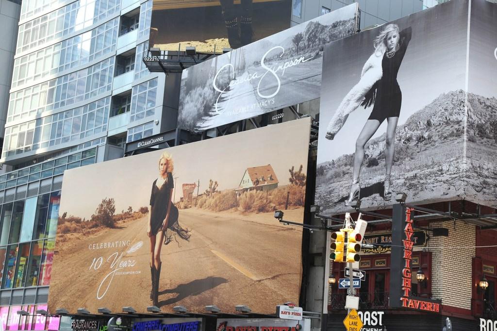 Billboards featuring Simpson's brand.