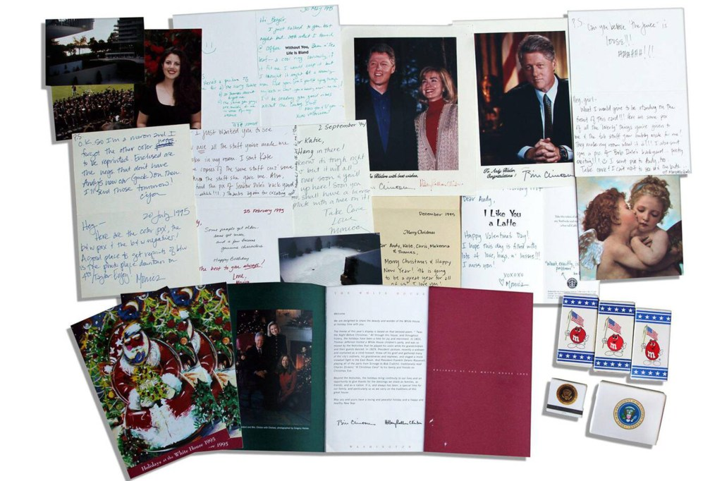 A treasure trove of items belonging to Monica Lewinsky and notes she wrote to Nason went up for auction in 2013.