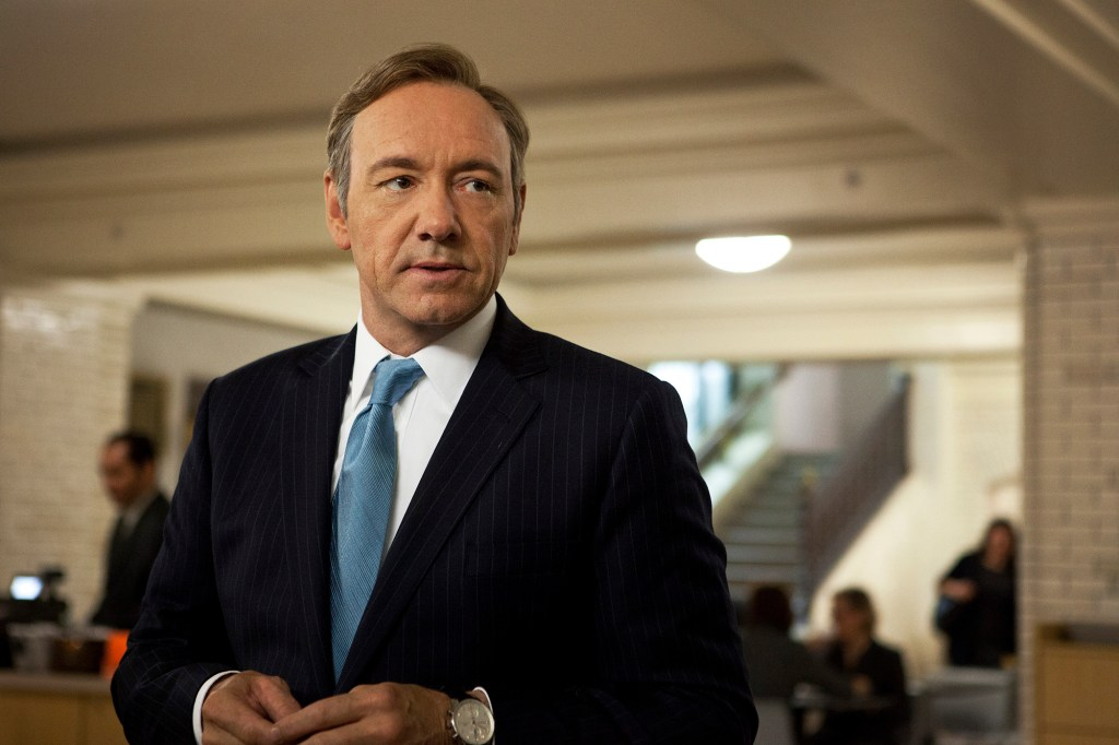 """Kevin Spacey stands in an office unsmiling in """"House of Cards."""""""