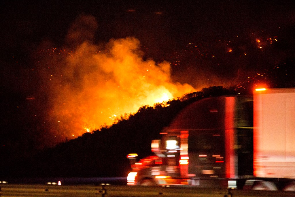 A part of the major freeway Interstate 5 in was closed due to the fire.