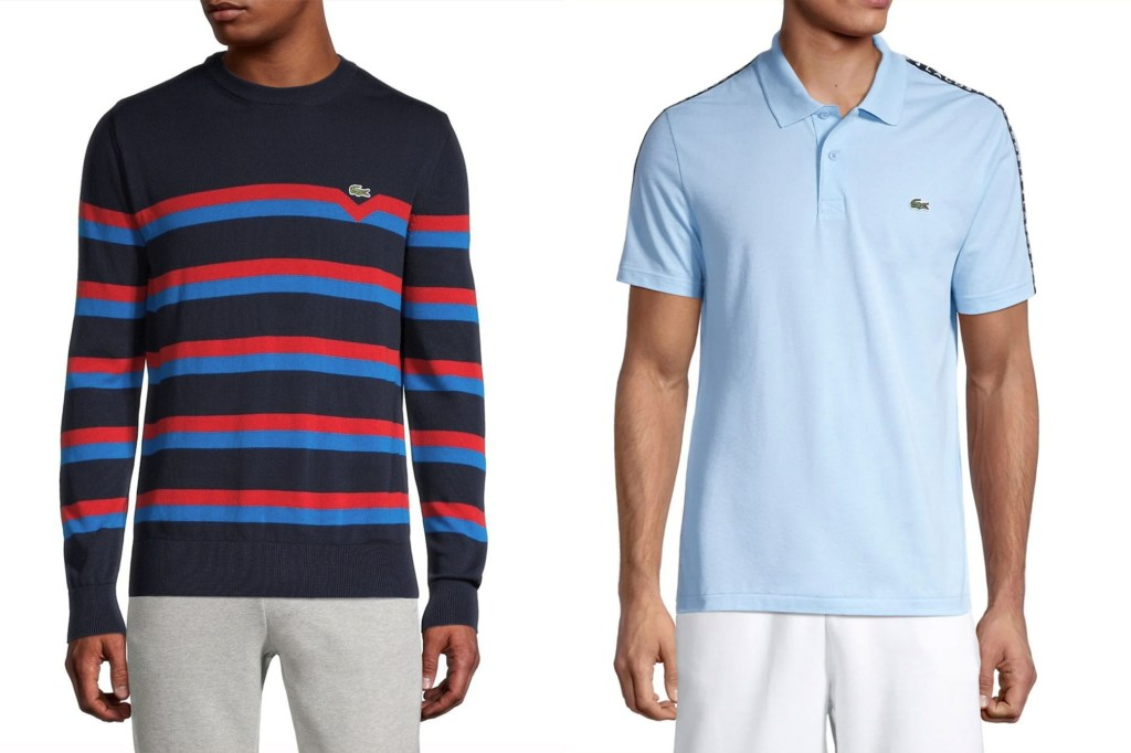 A side by side of men, one in a red and blue striped sweater and one in a blue polo