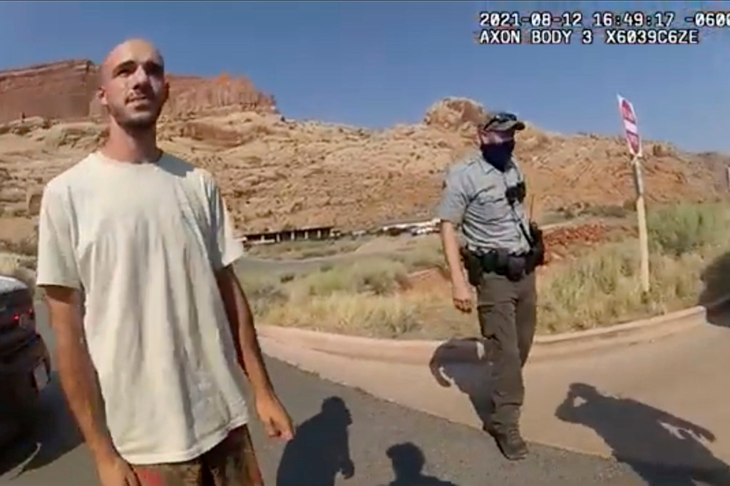 This police camera video provided by The Moab Police Department shows Brian Laundrie talking to a police officer.