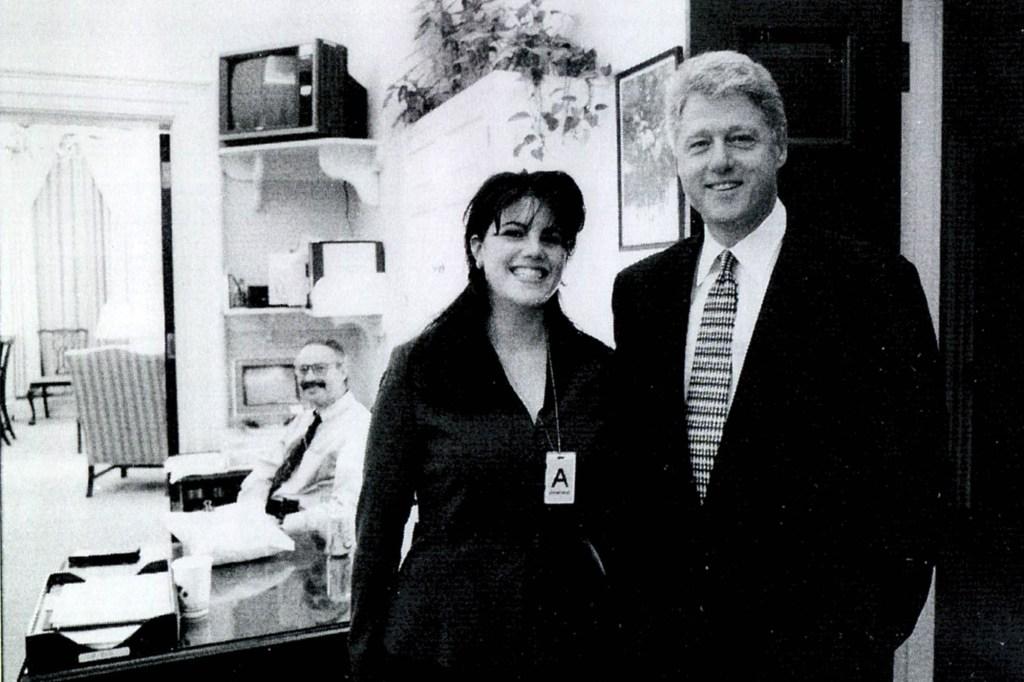 Former White House intern Monica Lewinksy with Bill Clinton