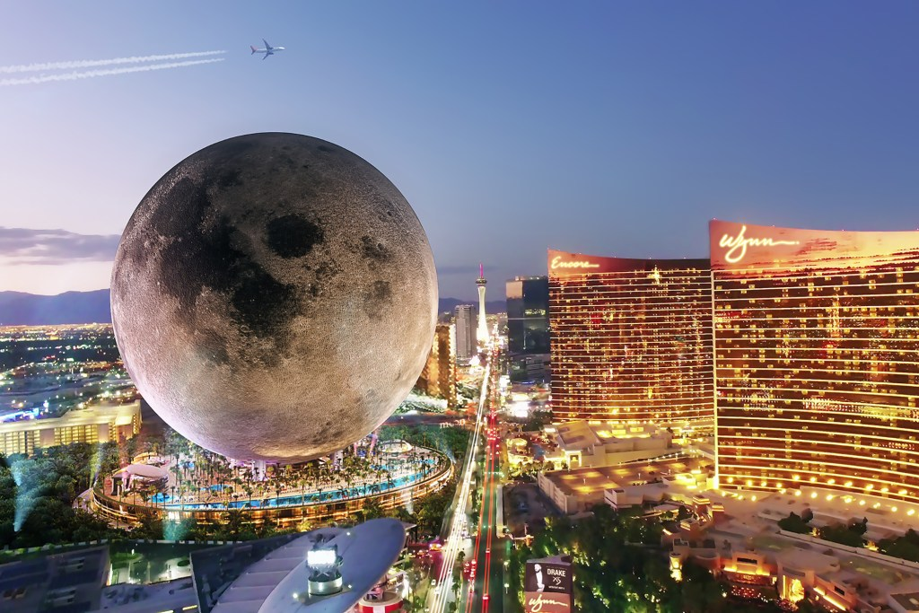 """The Moon design is imagined in Las Vegas, which is the intended destination for one of the four resorts. The 5.5 billion square foot structure will be 735 feet tall and 650 feet wide. The """"moon"""" will sit on a three-floor platform, renderings show."""