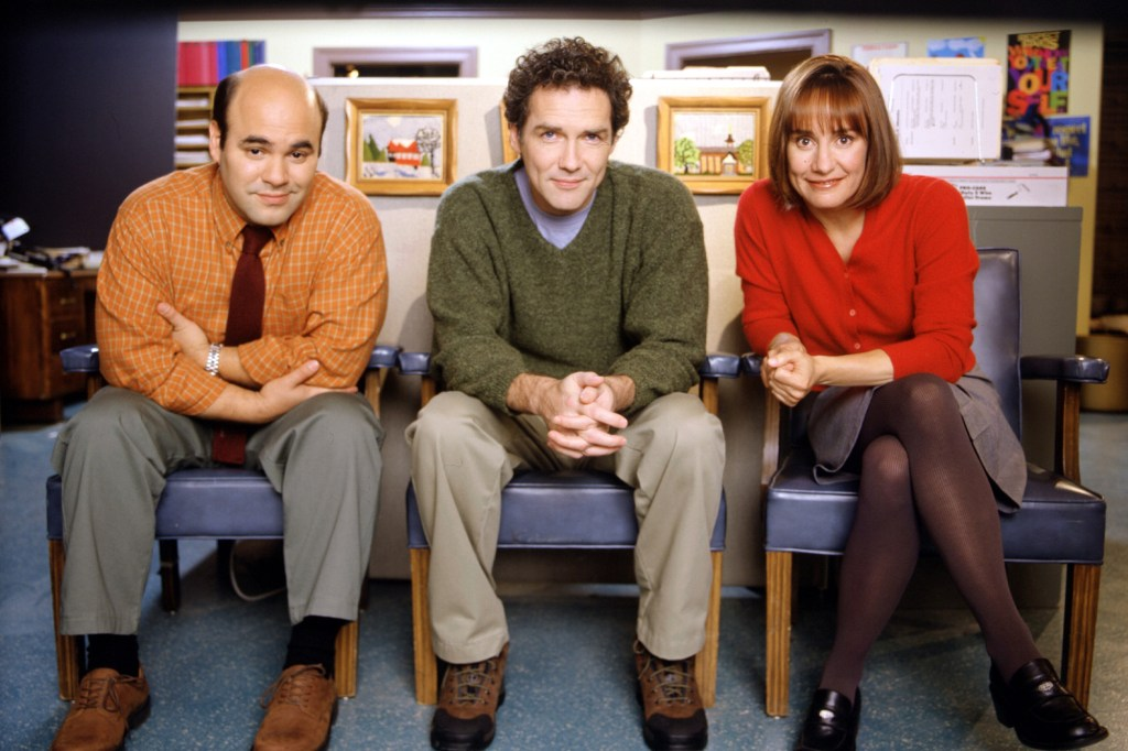 """Ian Gomez, Norm Macdonald and Laurie Metcalf on """"The Norm Show."""""""