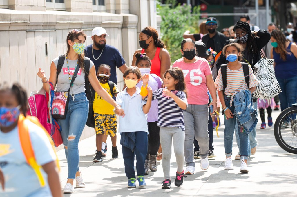 Students are dismissed from the first day of school at PS 133 in Brooklyn.