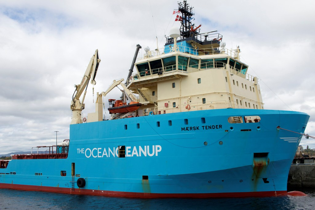 An offshore supply vessel used by non-profit the Ocean Cleanup to remove plastic from the ocean is docked at a port in Victoria, Canada, September 8, 2021.