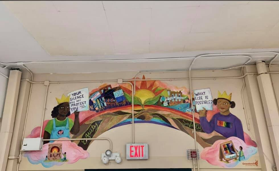 A mural painted inside P.S. 295 in Park Slope celebrating diversity has been removed.