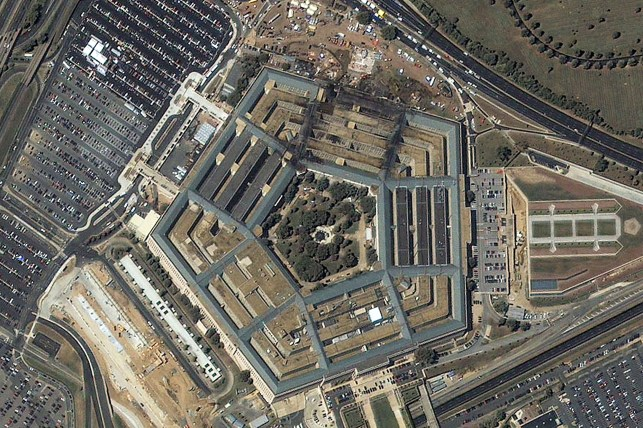 A Pentagon satellite image shows extensive damage to the west side of the multi-colored building in Arlington, Virginia, at 11:46 a.m. on September 12, 2001.