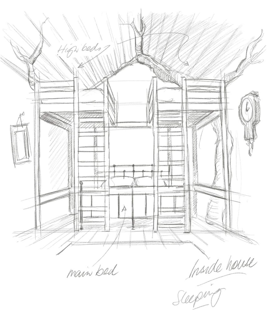"""This drawing of the """"inside house"""" has a main bed and """"high beds"""" for sleeping."""