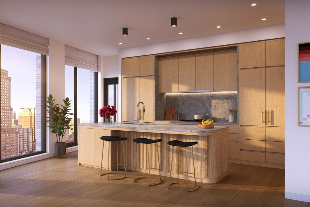 An interior shot of a kitchen inside a unit at One Boerum Place.