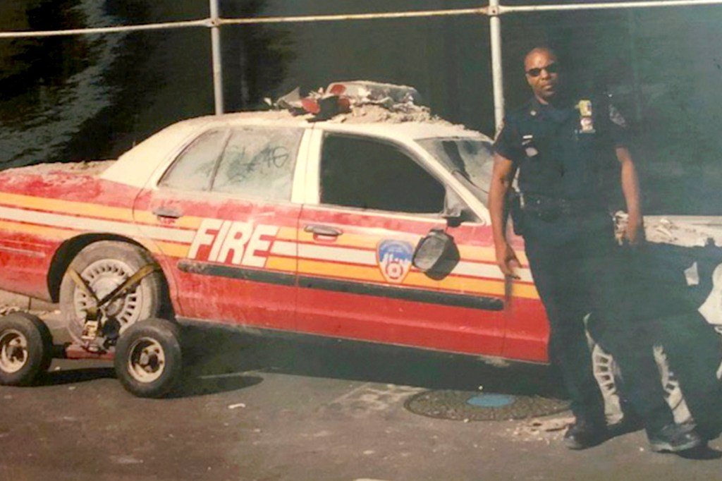 NYPD Det. Wendell Stradford at the site of Ground Zero following the September 11 terrorist attacks.