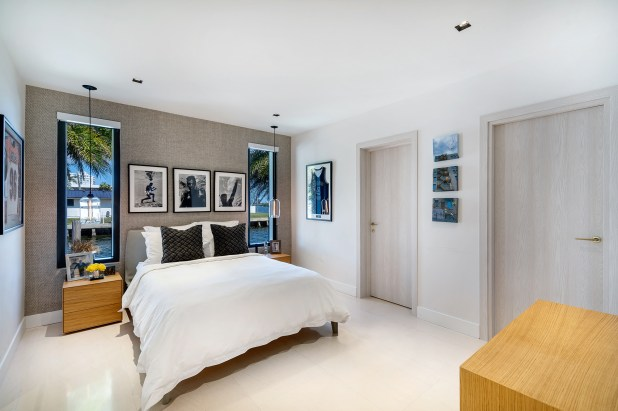 A bedroom in the North Miami home.