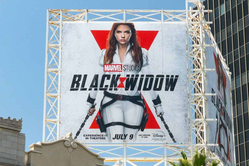 View of a billboard above the El Capitan Entertainment Centre promoting Marvel Studios' 'Black Widow' on June 22, 2021 in Hollywood, California