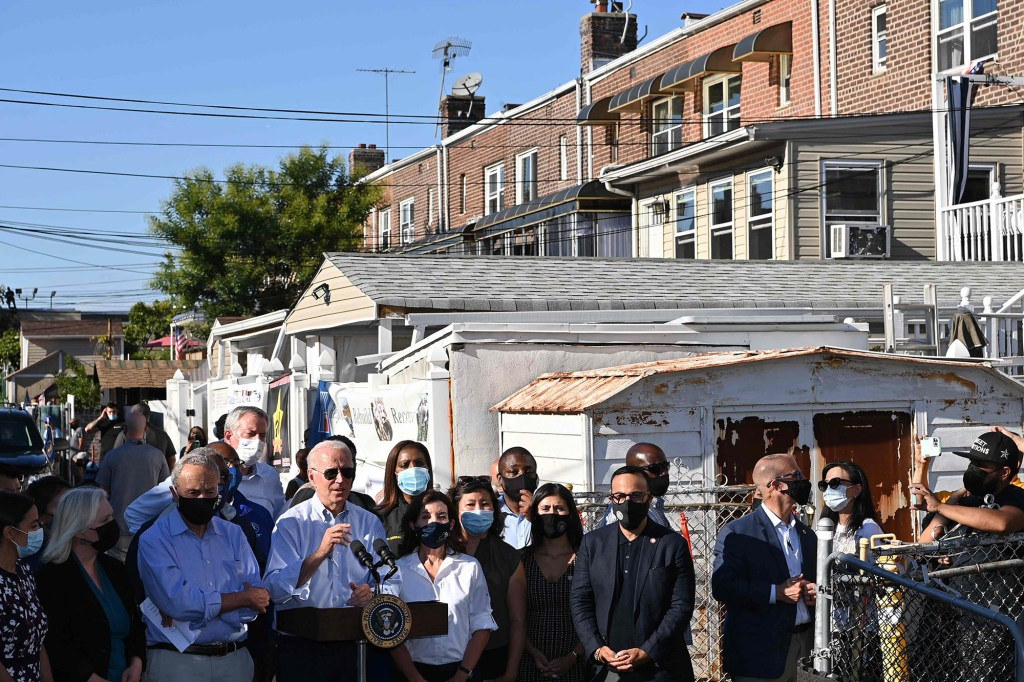 President Joe Biden and several other officials visited places that were damaged by Ida.