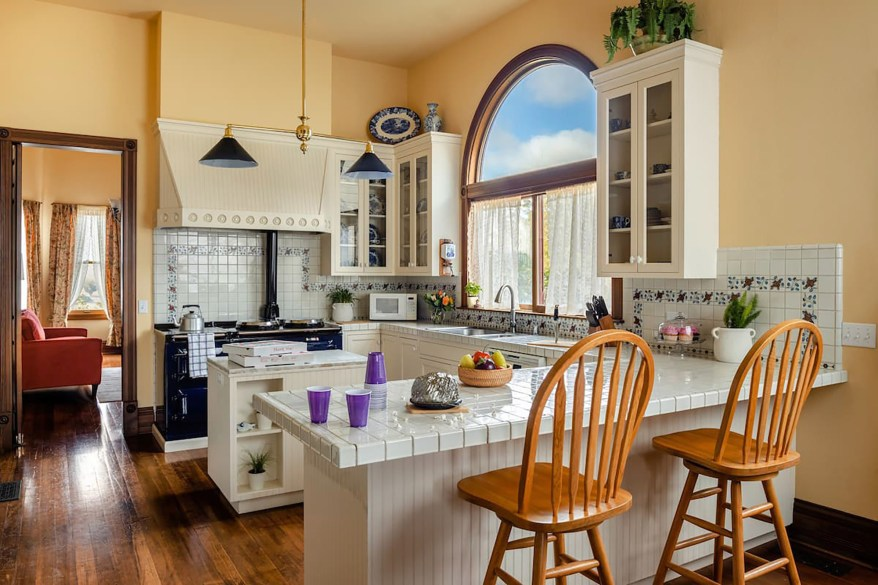 The kitchen has barely changed since the movies, photos suggest.