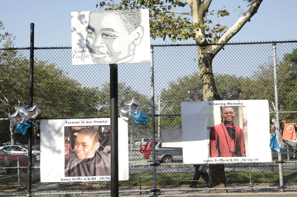 Showing a Memorial site with Copyphotos of Aamir Griffin