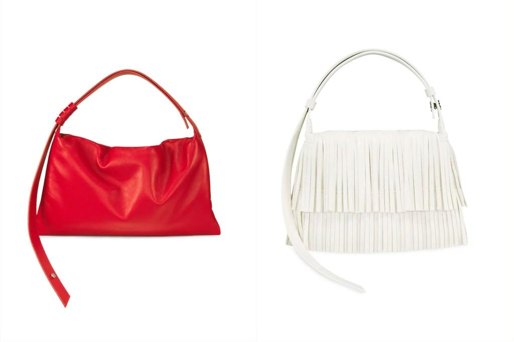 A red small handbag next to a slightly larger white fringe bag