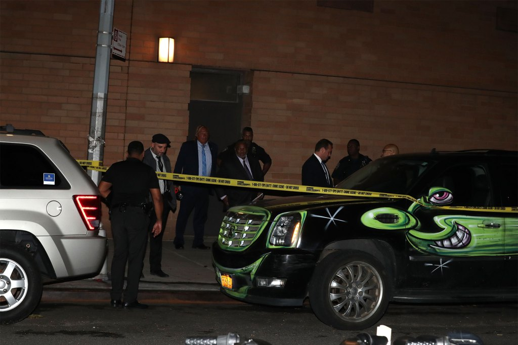The GOP nominee slammed the lax law enforcement policies of Mayor de Blasio after two people were shot outside a housing complex at around 8:40 p.m.