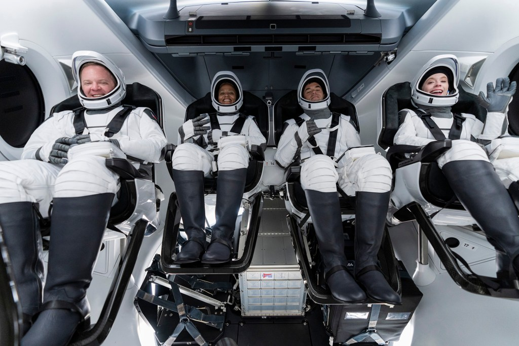 (From left) Chris Sembroski, Sian Proctor, Jared Isaacman and Hayley Arceneaux sit in the Dragon capsule at Cape Canaveral in Florida during a dress rehearsal for launch.
