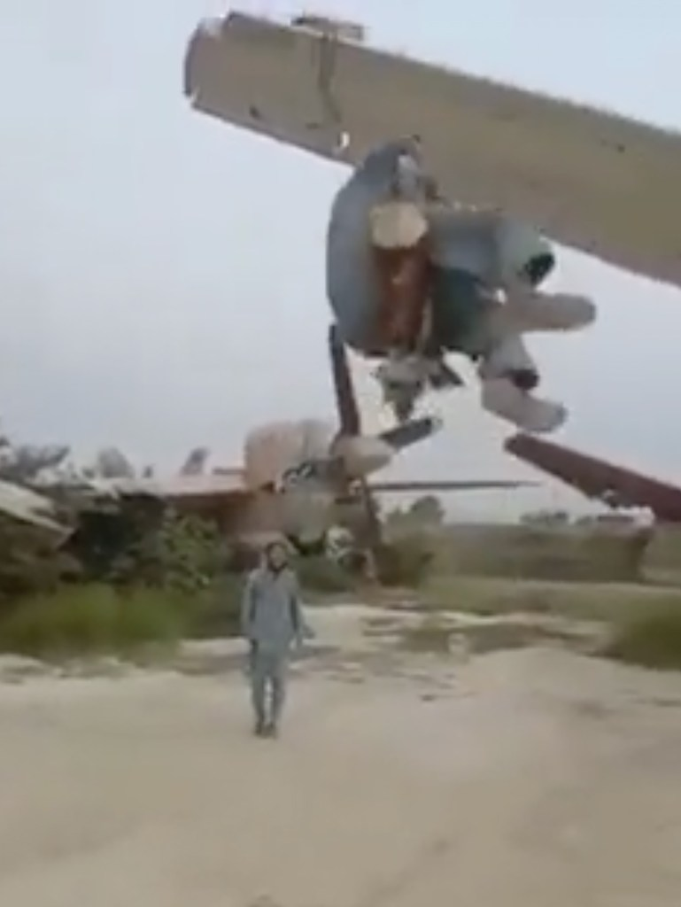 Taliban swinging from American planes.