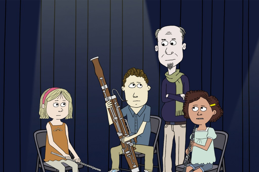 """Photo showing Tom holding his bassoon and looking at his music teacher, Mr. B, in """"Ten Year Old Tom."""""""
