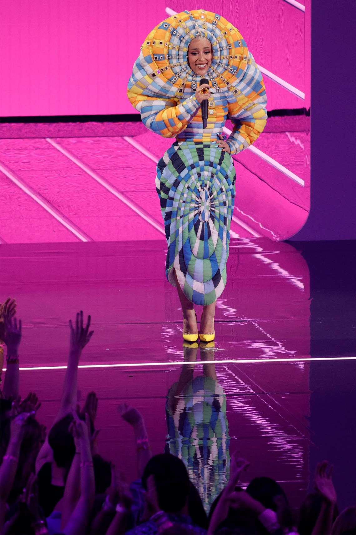 Host and Best Collaboration winner Doja Cat makes a quirky fashion statement at the 2021 MTV Video Music Awards.