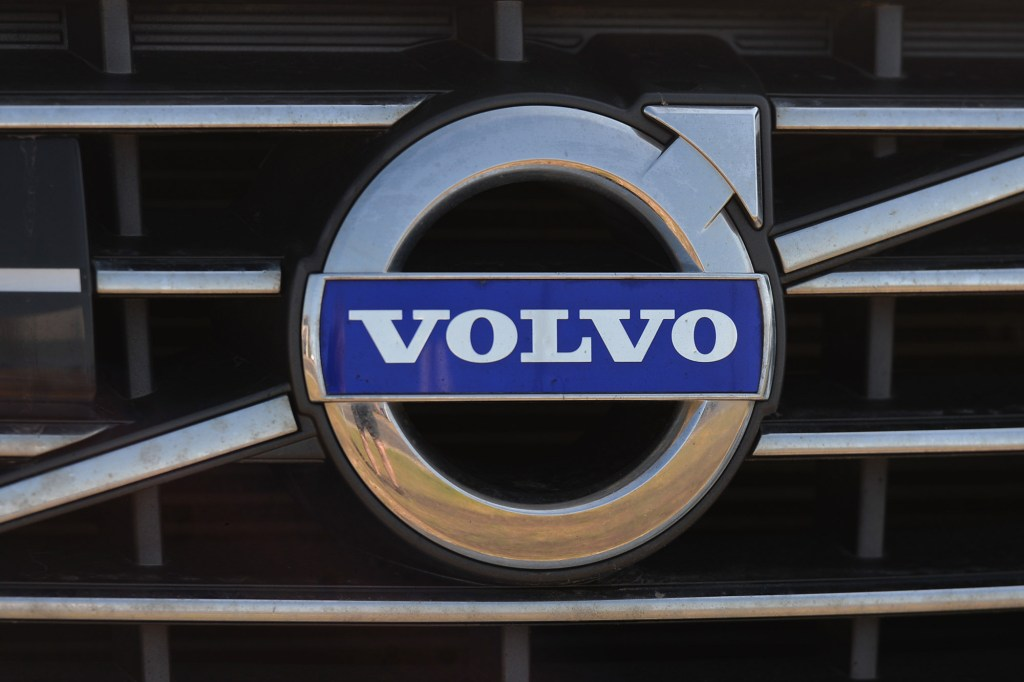 Closeup of Volvo logo on the front of a Volvo vehicle