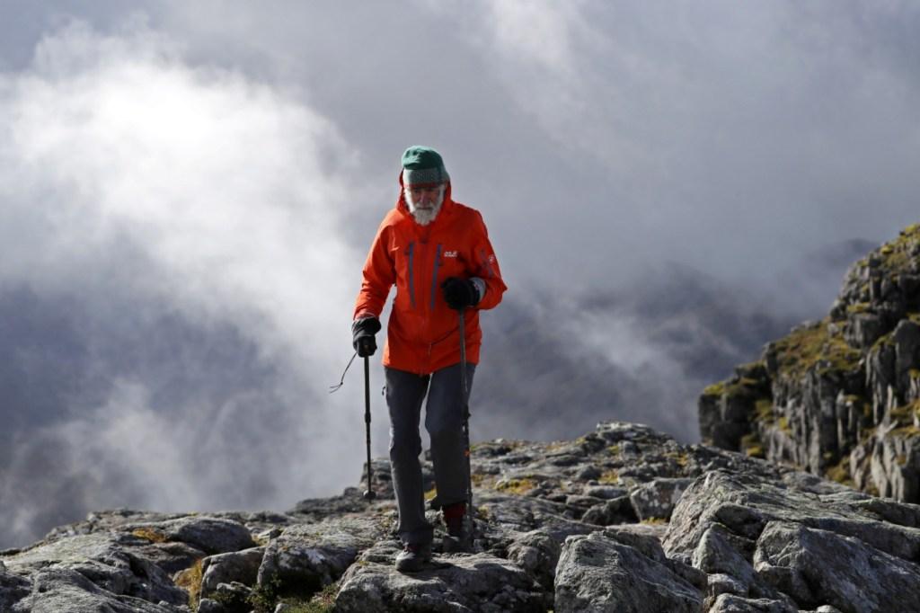 ClimberNickGardnerascends Buachaille Etive Mor in Scotland, Britain September 29, 2021.